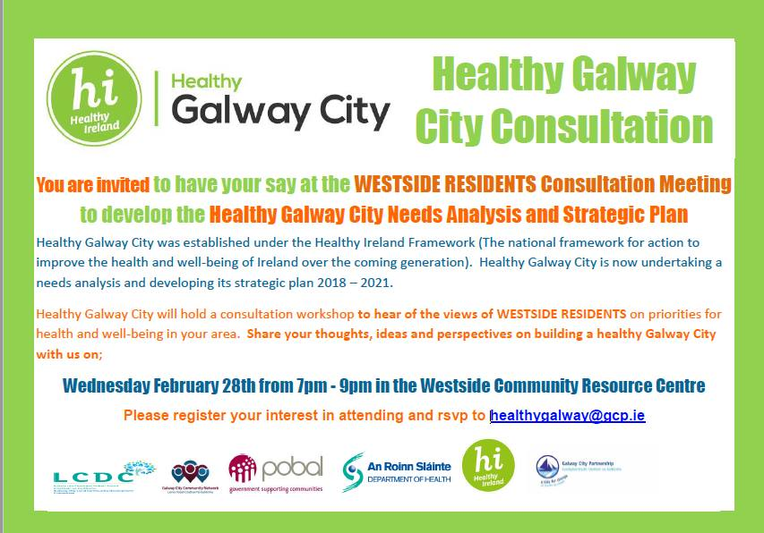 Wednesday – Healthy Galway City public consultation in Westside