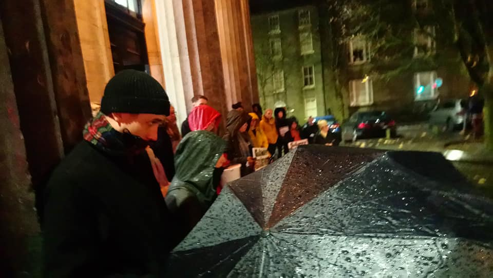 Fifty Galwegians braved the rain last night to fight injustice