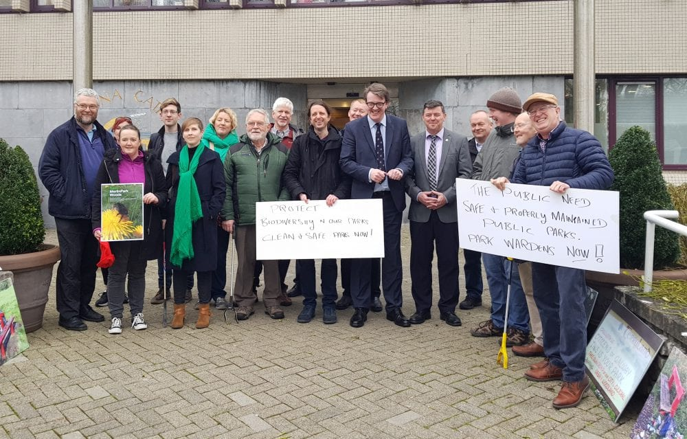 Protest at city hall calls for park wardens to tackle rubbish crisis