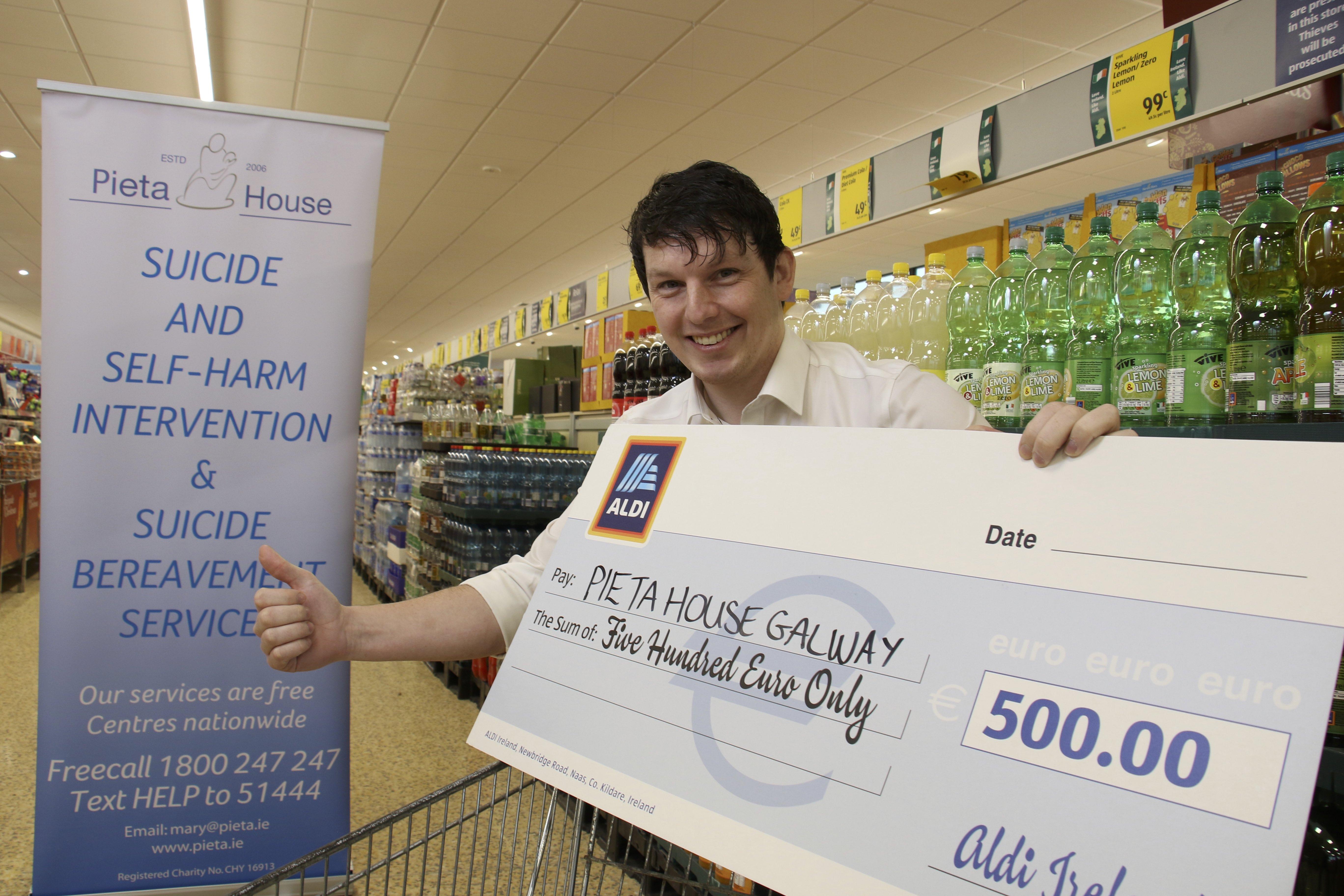 Local Aldi staff award Pieta House €500 grant to support vital services