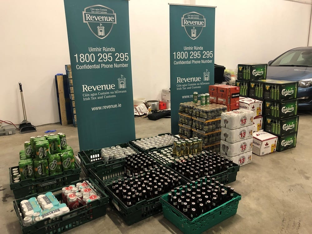 Revenue agents seize 809 litres of alcohol and €11,800 cash in Galway city
